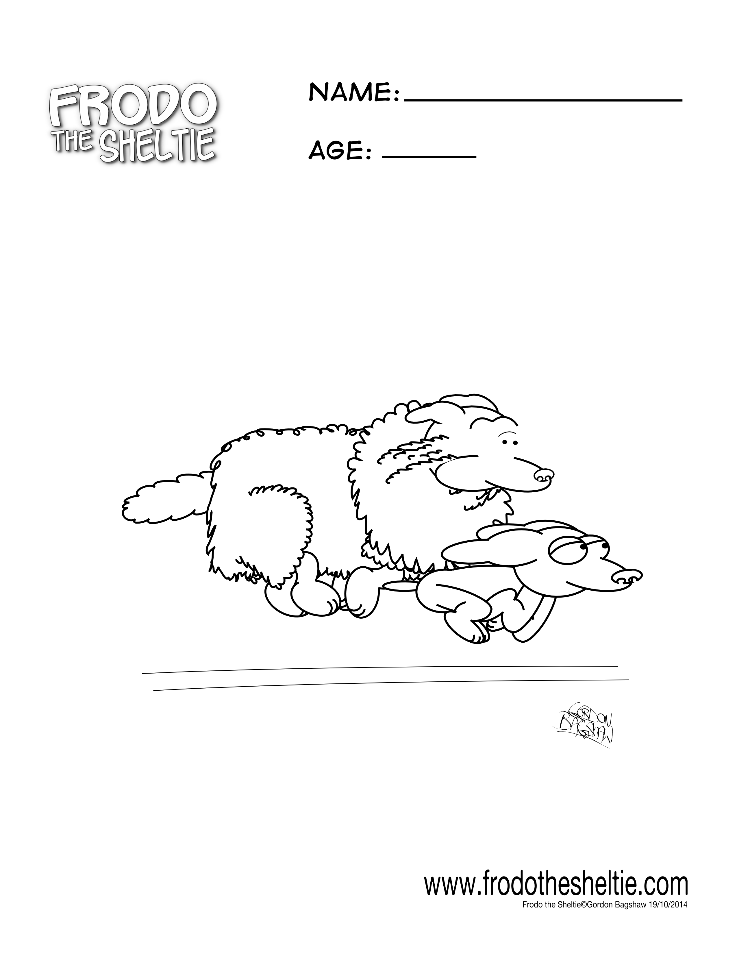 Frodo's Free Coloring Pages – Frodo The Sheltie