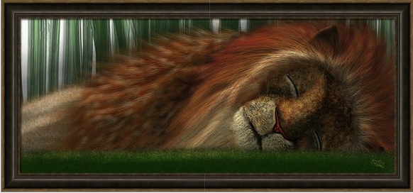 The Sleeping Lion I was so pleased with the way the lion came out, I put him on the front cover of the book. The focus of this painting of the lion, as with all the others, was to achieve the essence of peaceful sleep in wildlife. Painting digitally allows us to work in layers.  The Lion consists of 86 layers.