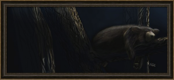 The Sleeping Black Bear When Sarah Elvidge and I first talked about the creation of the children's book,, I wanted to do something that was completely different from my comic strip experience of Frodo the Sheltie; to capture the essence of wildlife resting in peace, so much so that the reader would want to reach out to run their hand through their fur. This particular painting of mine reminds me of this goal I had in mind.