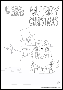 Christmas colouring page from Frodo the Sheltie
