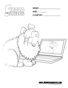 Frodo the Sheltie coloring page of Frodo and Bella