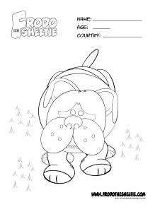 Frodo the Sheltie colouring page of Baiana