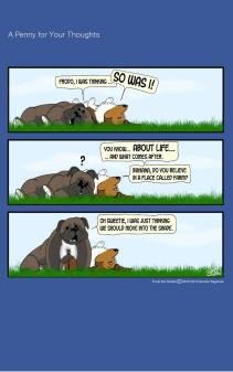 Frodo the Sheltie dog comic strip: Frodo and his Cousin Baiana are at her farm laying in the meadow talking about the meaning of life