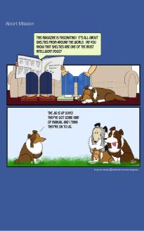 Frodo the Sheltie dog comic strip: Frodo his holding a meeting with other shelties saying that humans are onto their secret