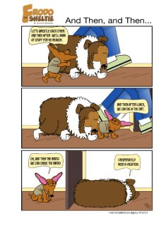 Frodo the Sheltie dog comic strip: Nina is staying and Frodo's place and she's too much energy for him