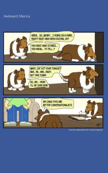 Frodo the Sheltie dog comic strip: Frodo is trying to get to know his new sister Wendy, but she's not very talkative.