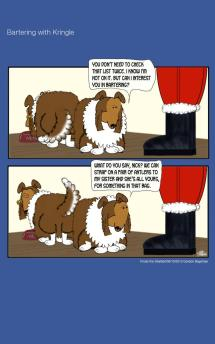 Frodo the Sheltie dog comic strip: Frodo's trying to make a deal with Santa Klaus