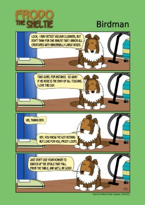 Frodo the Sheltie dog comic strip: Frodo is comparing Gord's nose to the vacuum