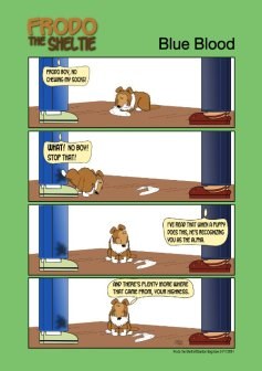 Frodo the Sheltie dog comic strip: Frodo as a puppy pees on Gord, but it's with respect, really.
