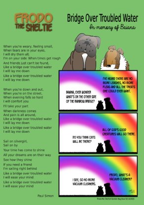 Frodo the Sheltie dog comic strip: this is a rainbow bridge comic strip in memory of the passing of the real Baiana